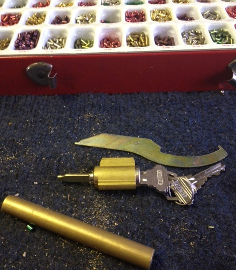 Lock cylinder removed for rekeying